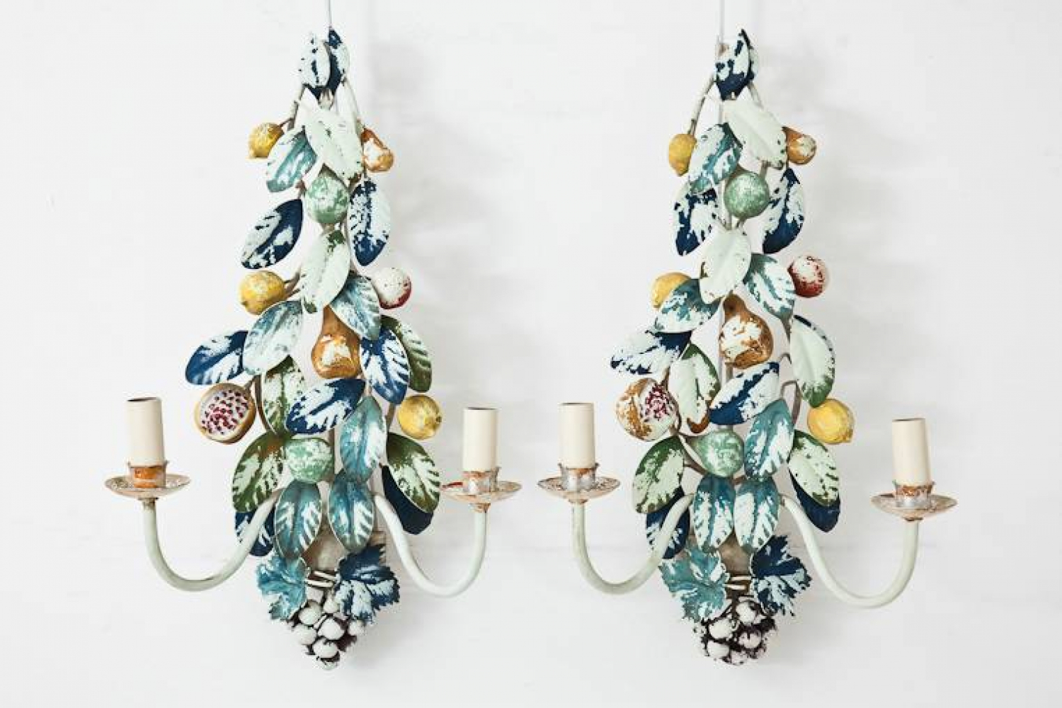Pair of Mid C20th Tole Wall Sconces