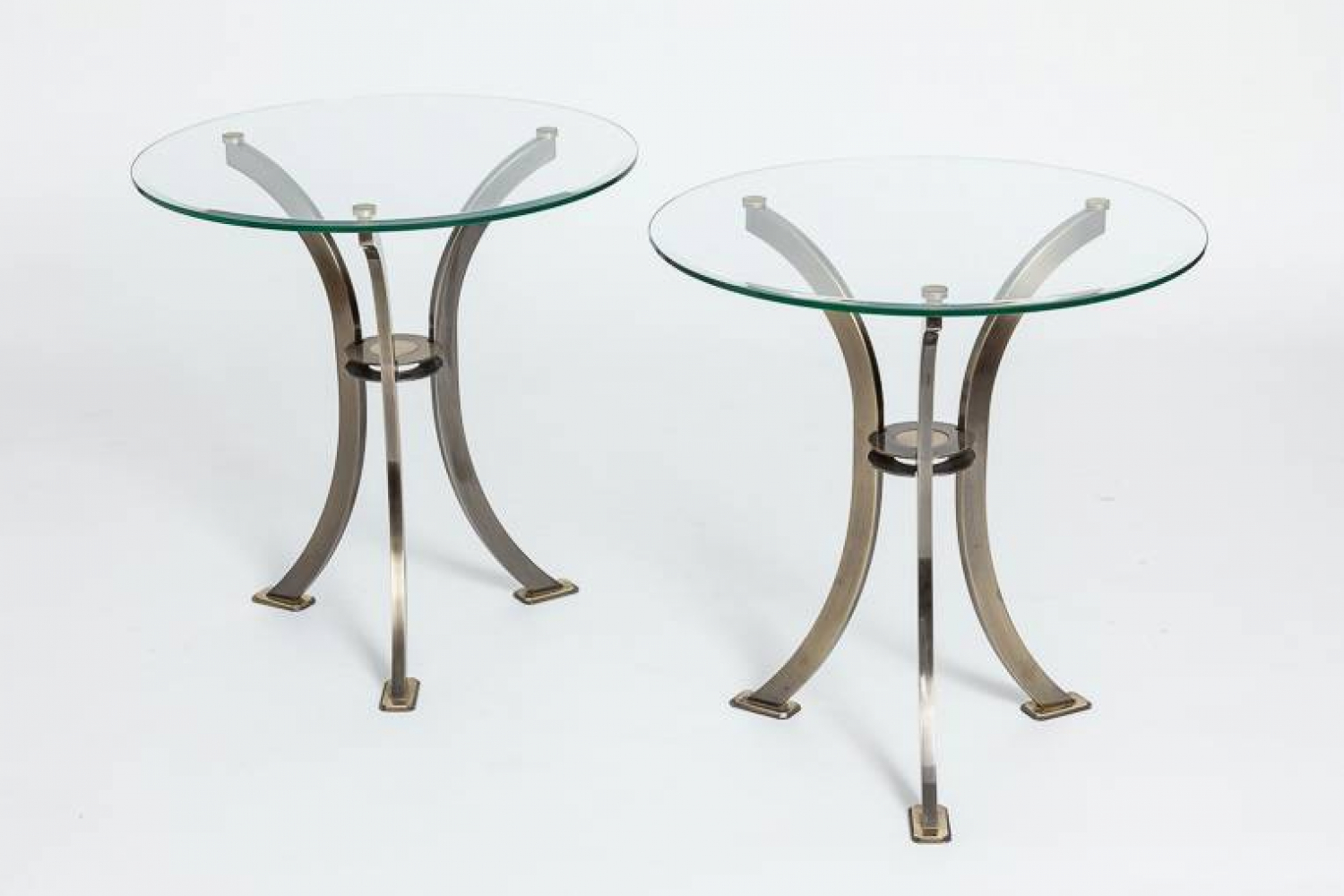 Pair of Round Glass Side Tables