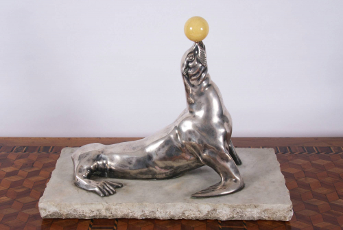 Silver Plated Seal Sculpture