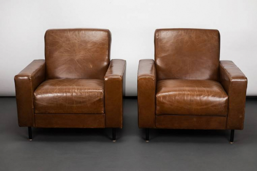Pair of French Late 1960`s Leather Armchairs by Airborne