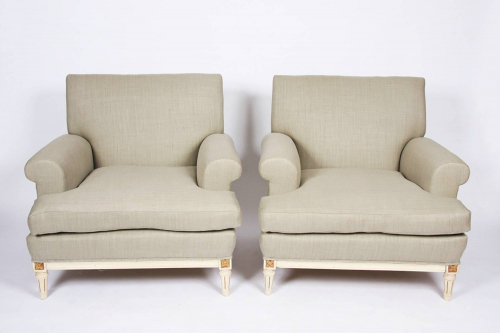 Pair of Upholstered Salon Chairs