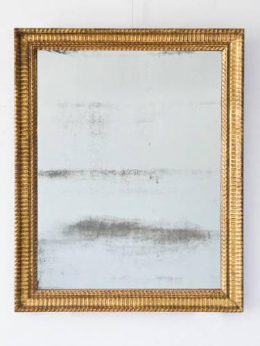 French C19th Mirror, Giltwood Ripple Frame