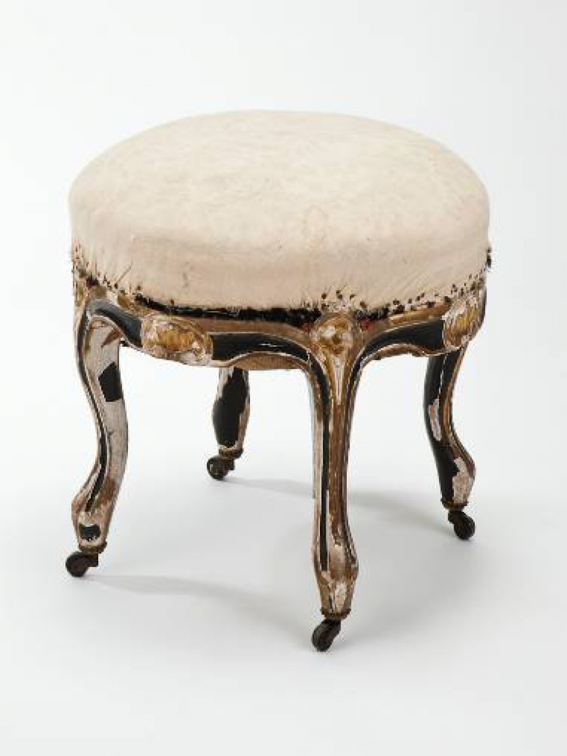 C19 Black and gilt stool