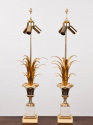 Pair of  French 1970`s Maison Charles style palm lamps - picture 1