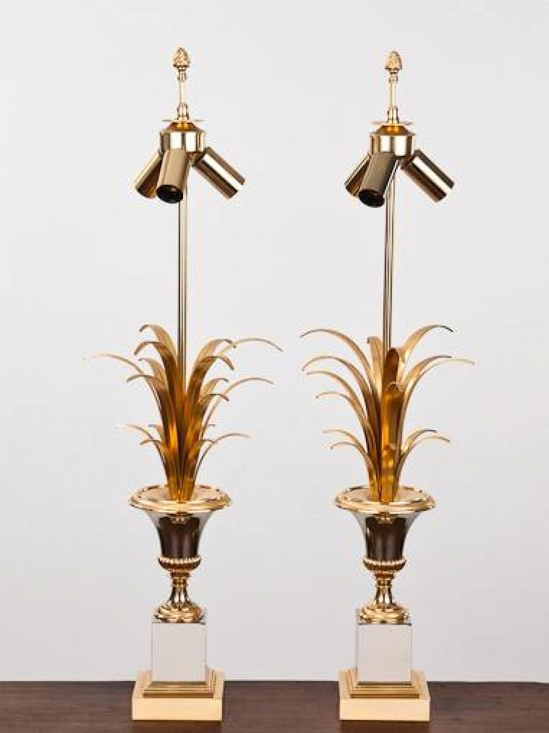 Pair of  French 1970`s Maison Charles style palm lamps