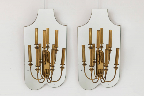 Pair of Mirrored Wall Lights
