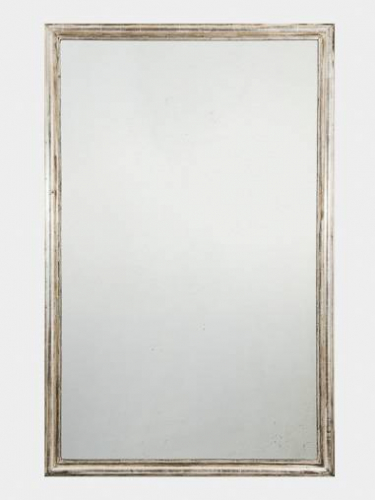 Large C19th French silver leaf mirror.