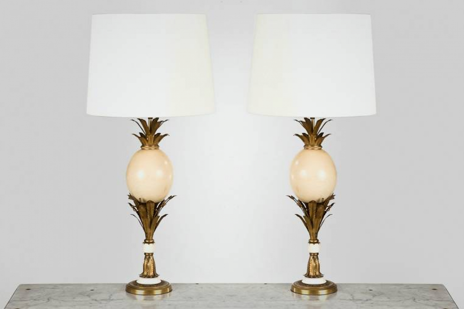 Pair of French Ostrich Egg Lamps