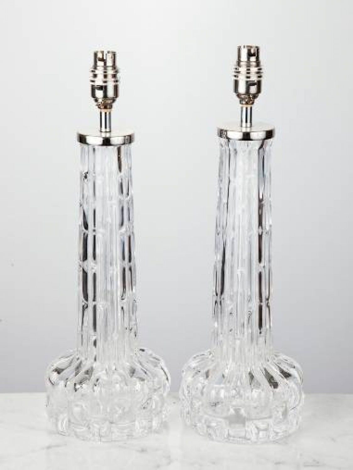 Pair of Orrefors Glass Table Lamps