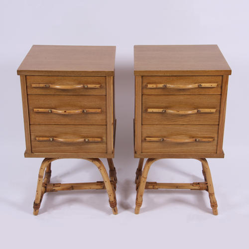 Pair of Bamboo Bedside Tables