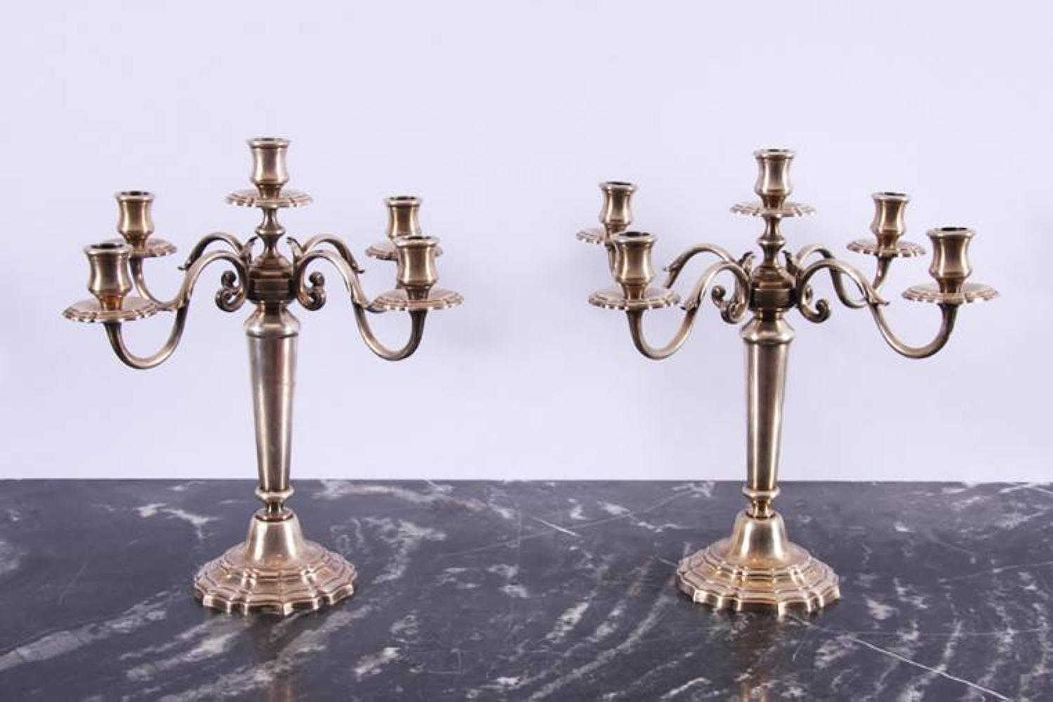 Pair of Silver Plated Candelabra