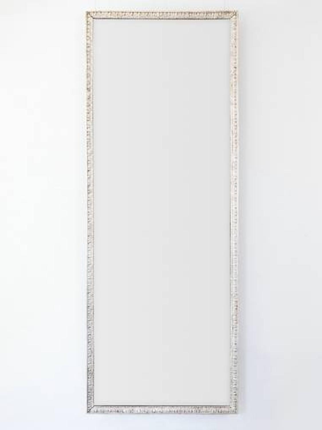 Tall Dressing Mirror with Carved Silver Gilt Frame