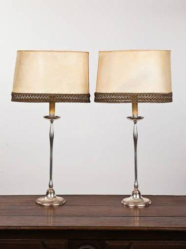 Pair of 1950`s Spanish silver plated table lamps with original shades