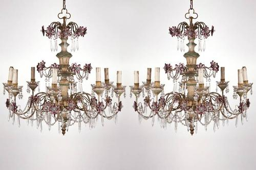 Pair of mid C20th French Chandeliers, in lovely original condition.