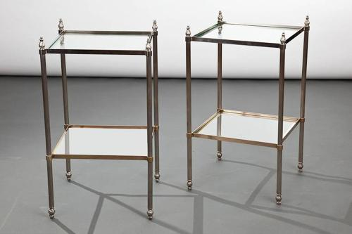 Pair of two tier side tables.