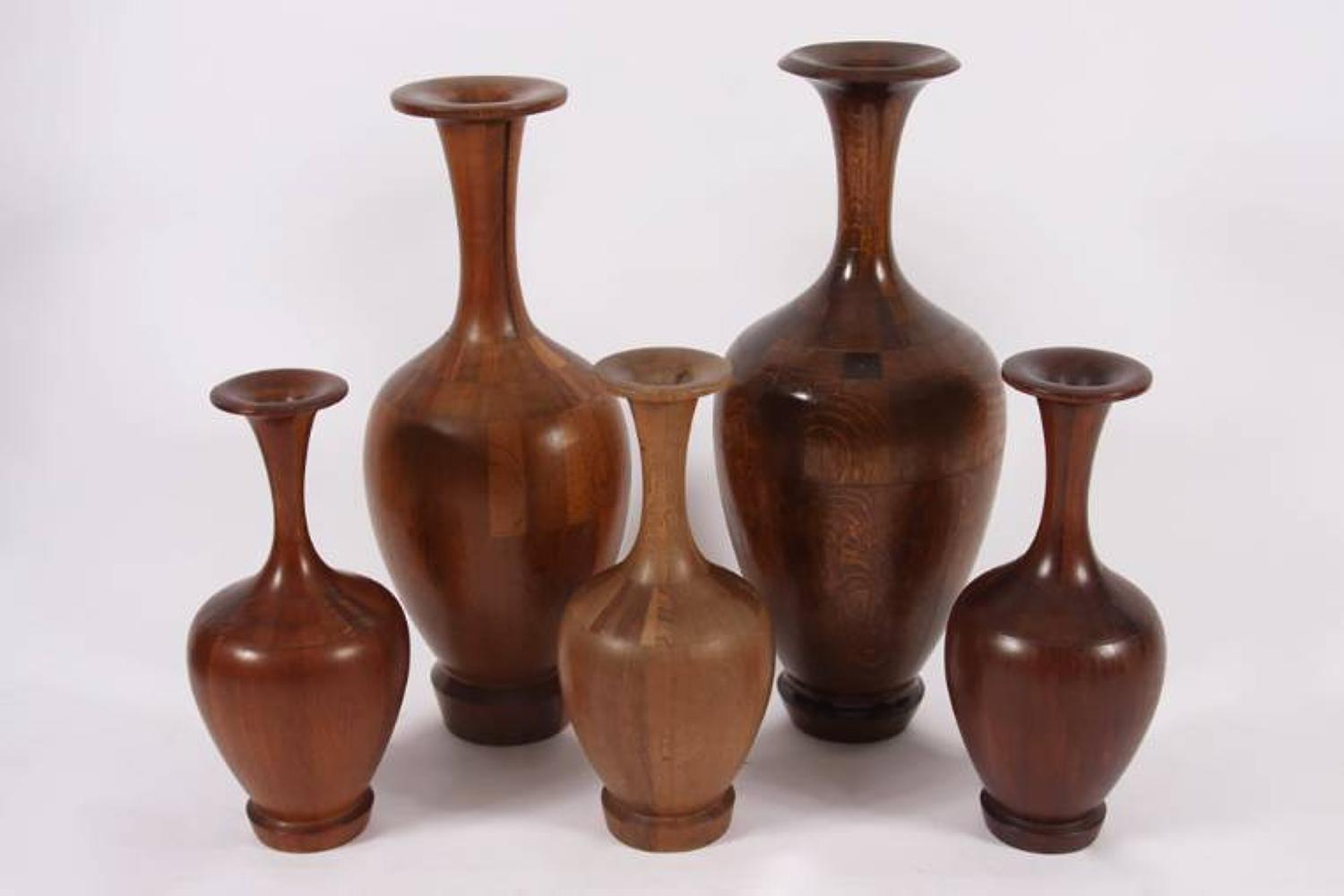 Set of Wooden Vases