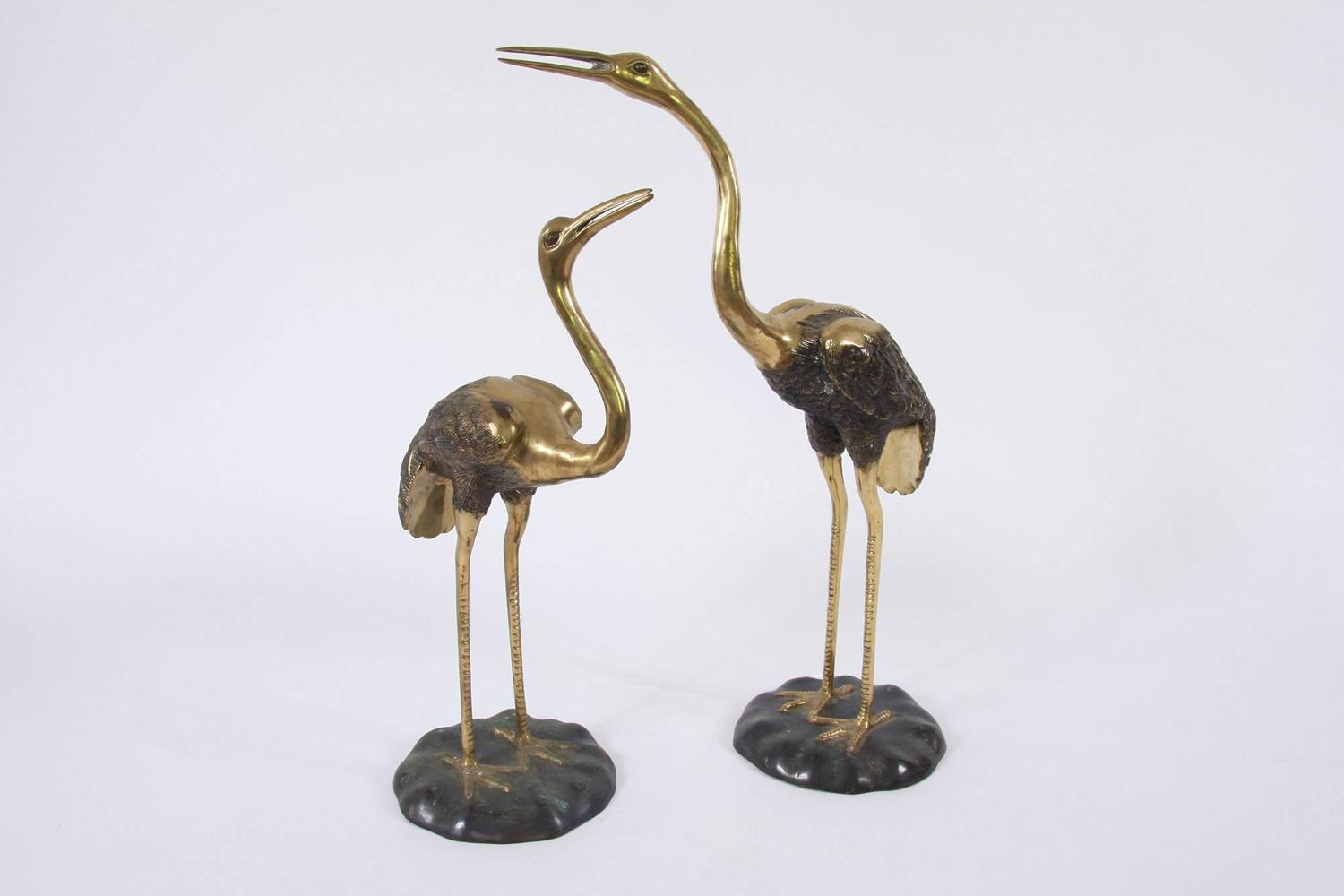 Pair of Brass Cranes