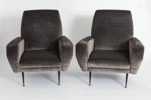 Pair of Velvet Club Chairs