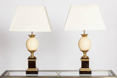 Pair of Ostrich Egg Table Lamps