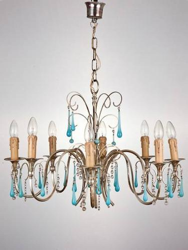 1950`s French silver plated chandelier with blue teardrops.