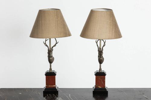 Pair of Deer Head Lamps
