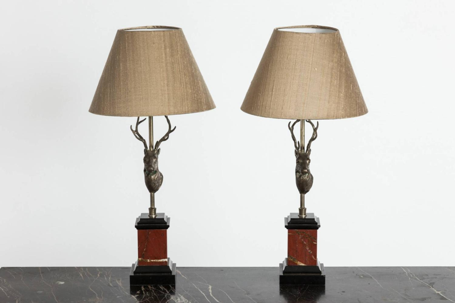 Pair of Deer Head Lamps