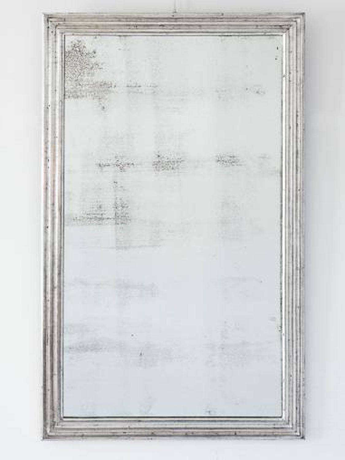 Reeded Silver Leaf Mirror, Dated 1929