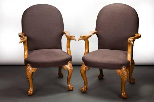 Pair open armchairs