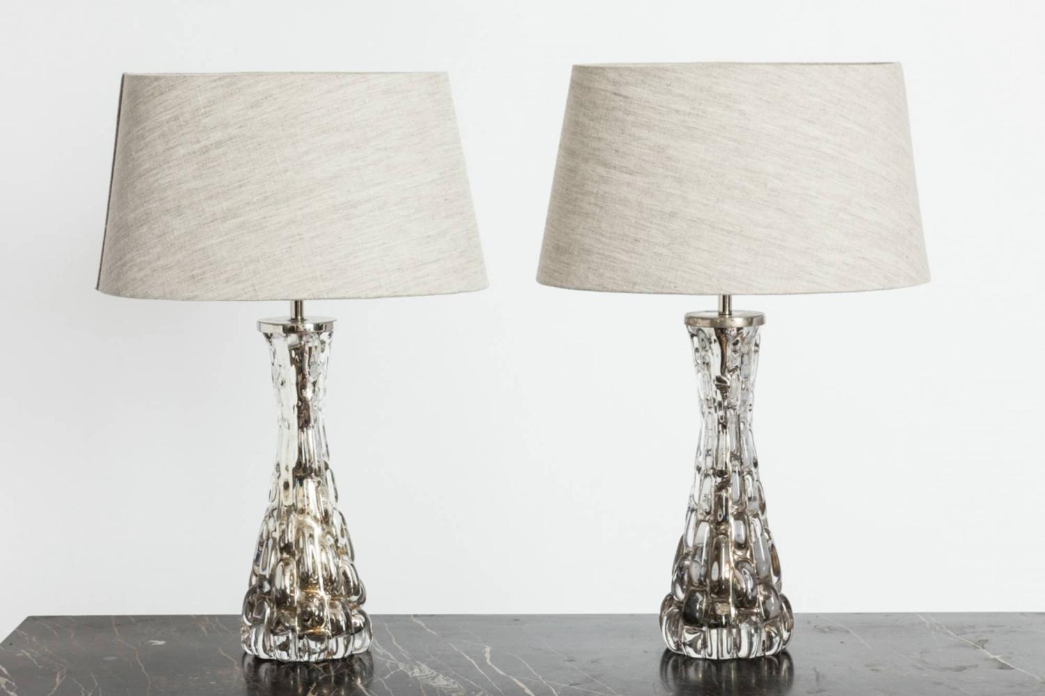 Pair of Silvered Orrefors Table Lamps