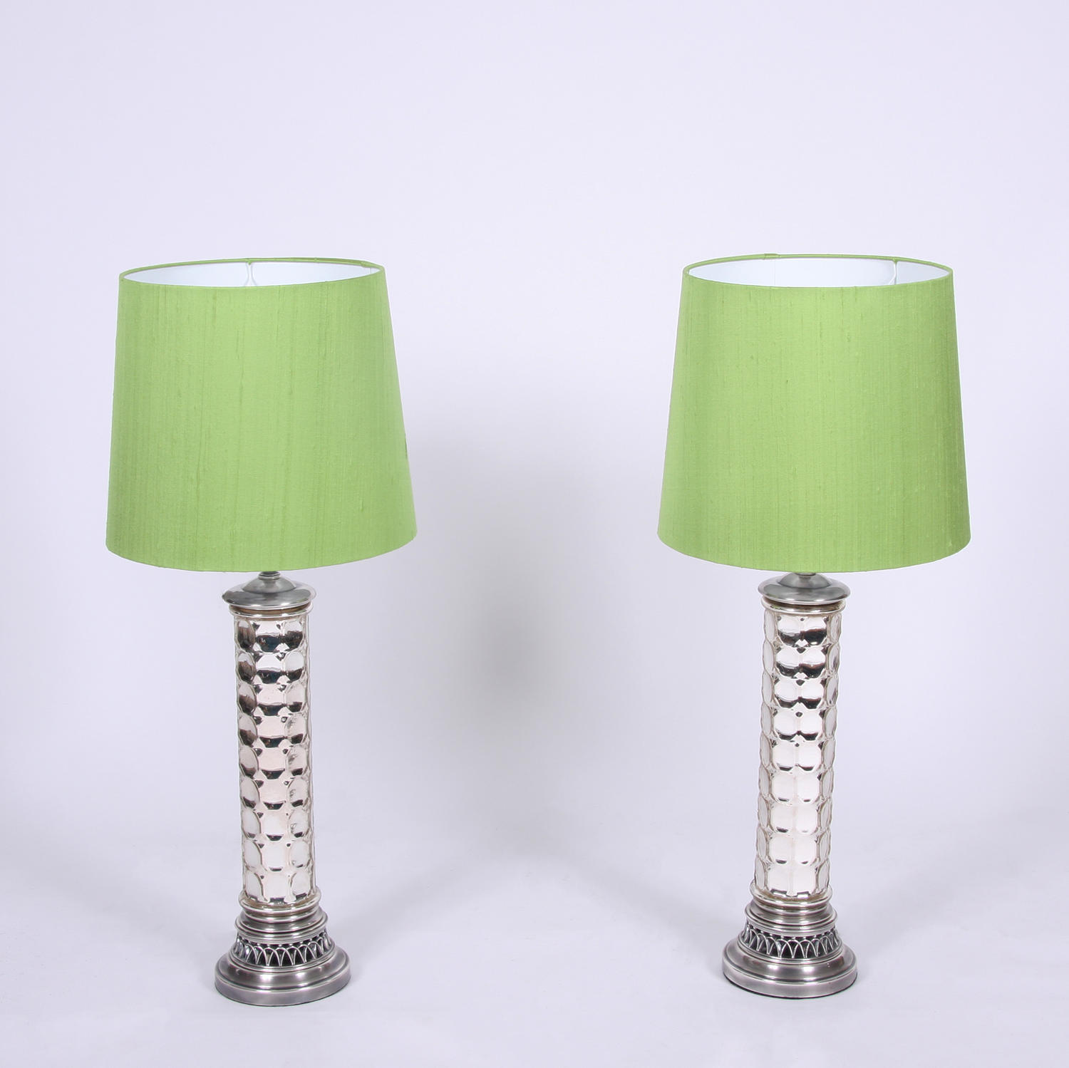Pair of Silvered Table Lamps