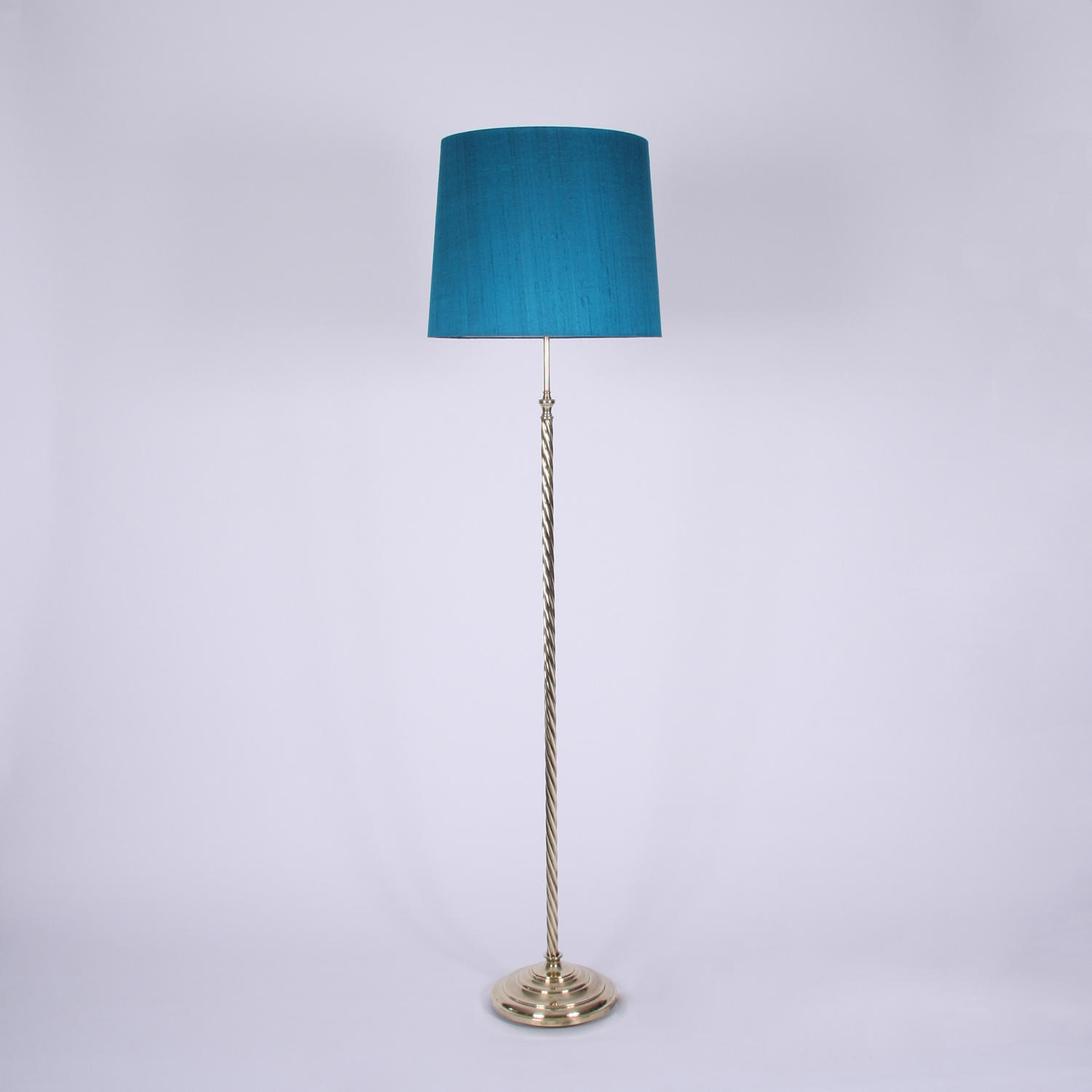 'Rope Twist' Brass Floor Lamp
