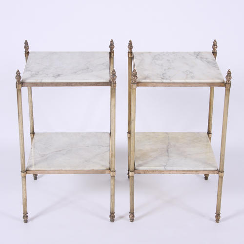 Pair of Brass and Marble Side Tables