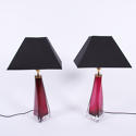 Pair of Cranberry Orrefors Lamps - picture 1