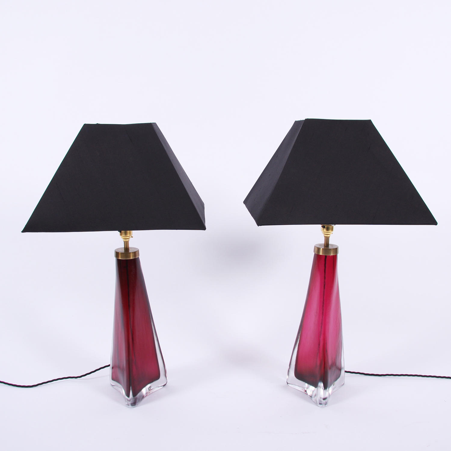 Pair of Cranberry Orrefors Lamps