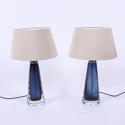Pair of Dark Blue Orrefors Lamps - picture 1