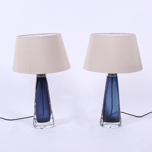 Pair of Dark Blue Orrefors Lamps