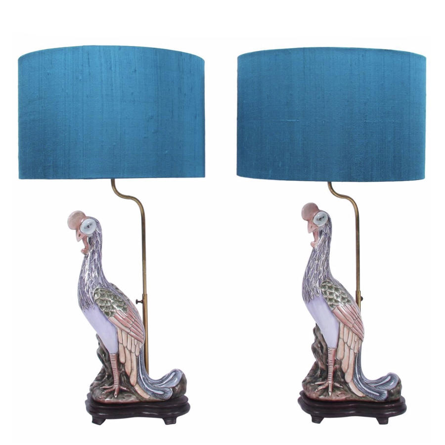 Pair of Exotic Bird Lamps