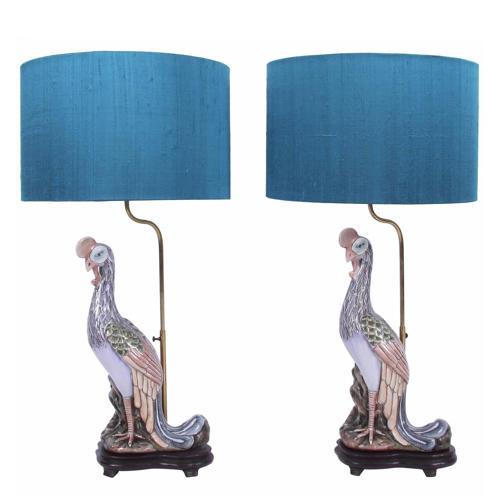 Pair of Exotic Bird Lamps