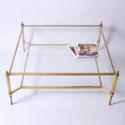 Large Glass and Brass Coffee Table - picture 1