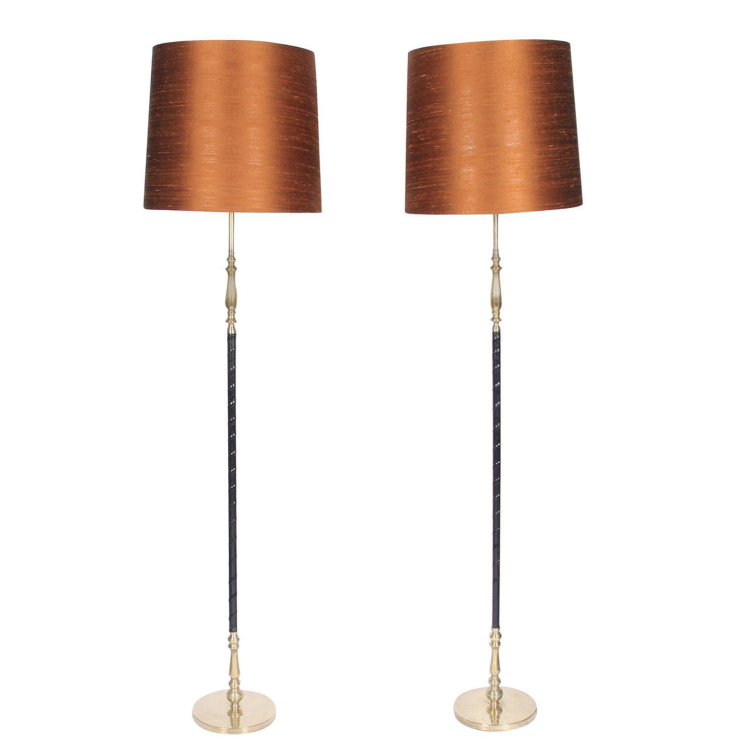 Pair of Leather and Brass Floor Lamps