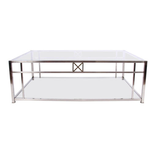 Large Glass and Chrome Coffee Table