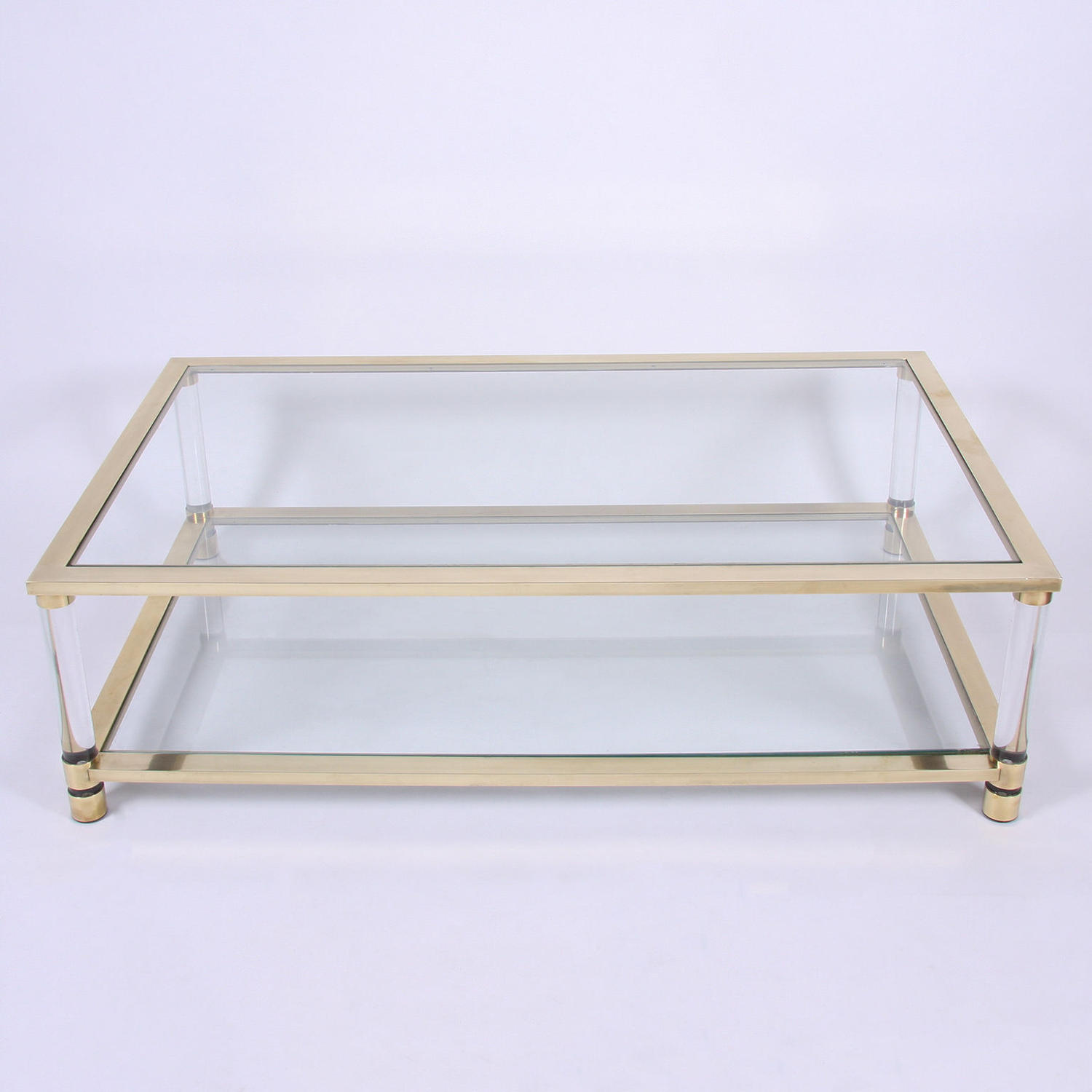Large Two Tier Glass and Brass Coffee Table