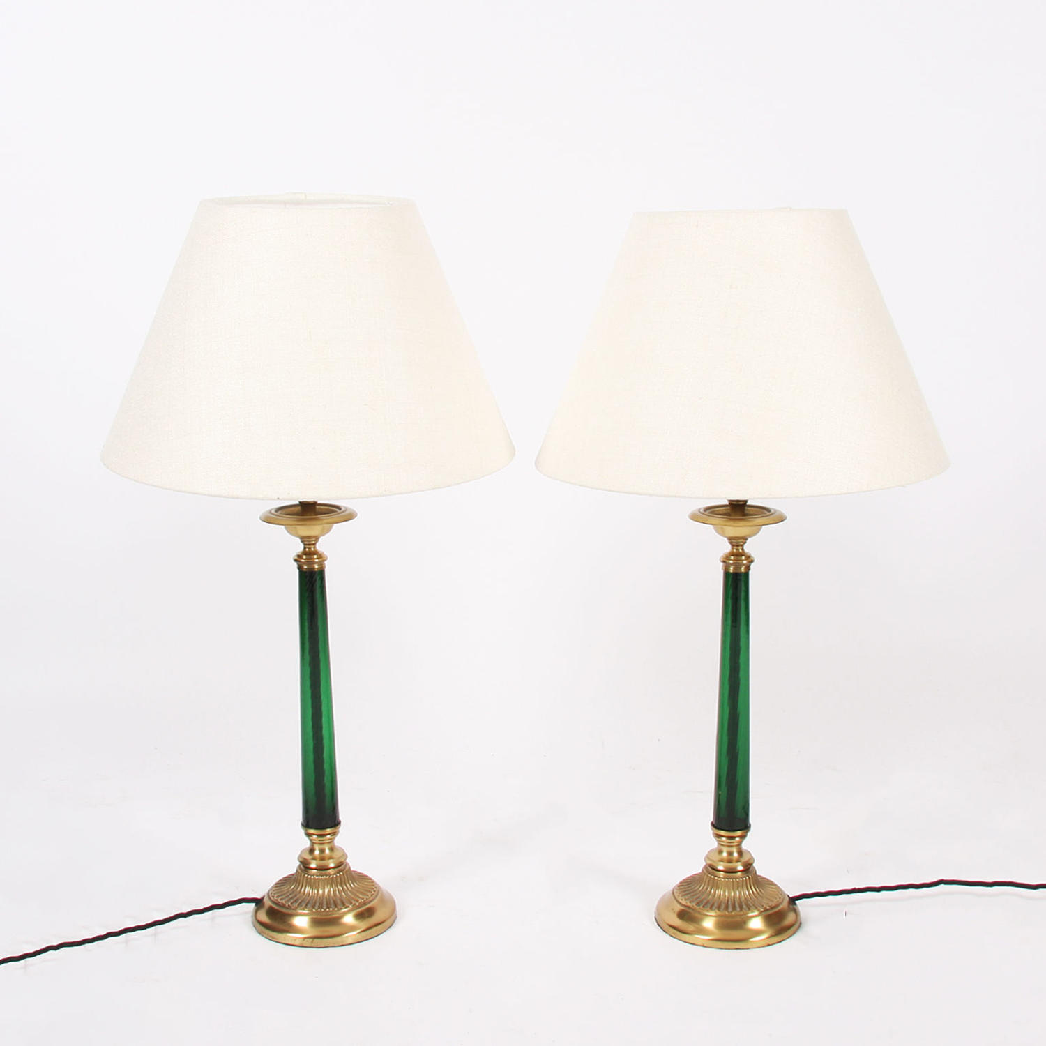 Pair of Glass and Brass Table Lamps