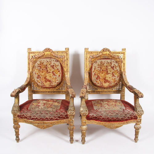 Pair of Giltwood and Velvet Thrones