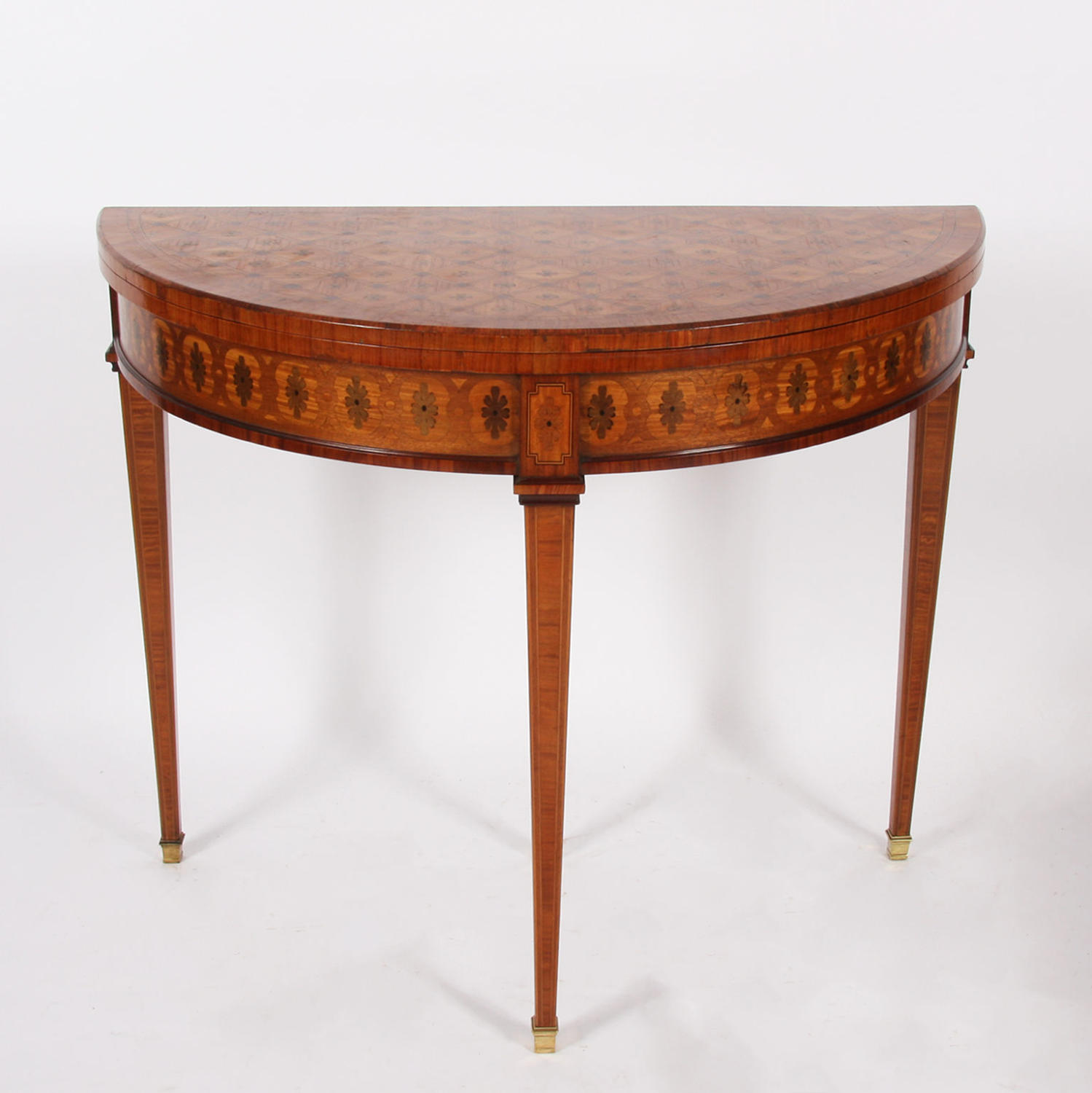 Demi Lune Parquetry Card Table