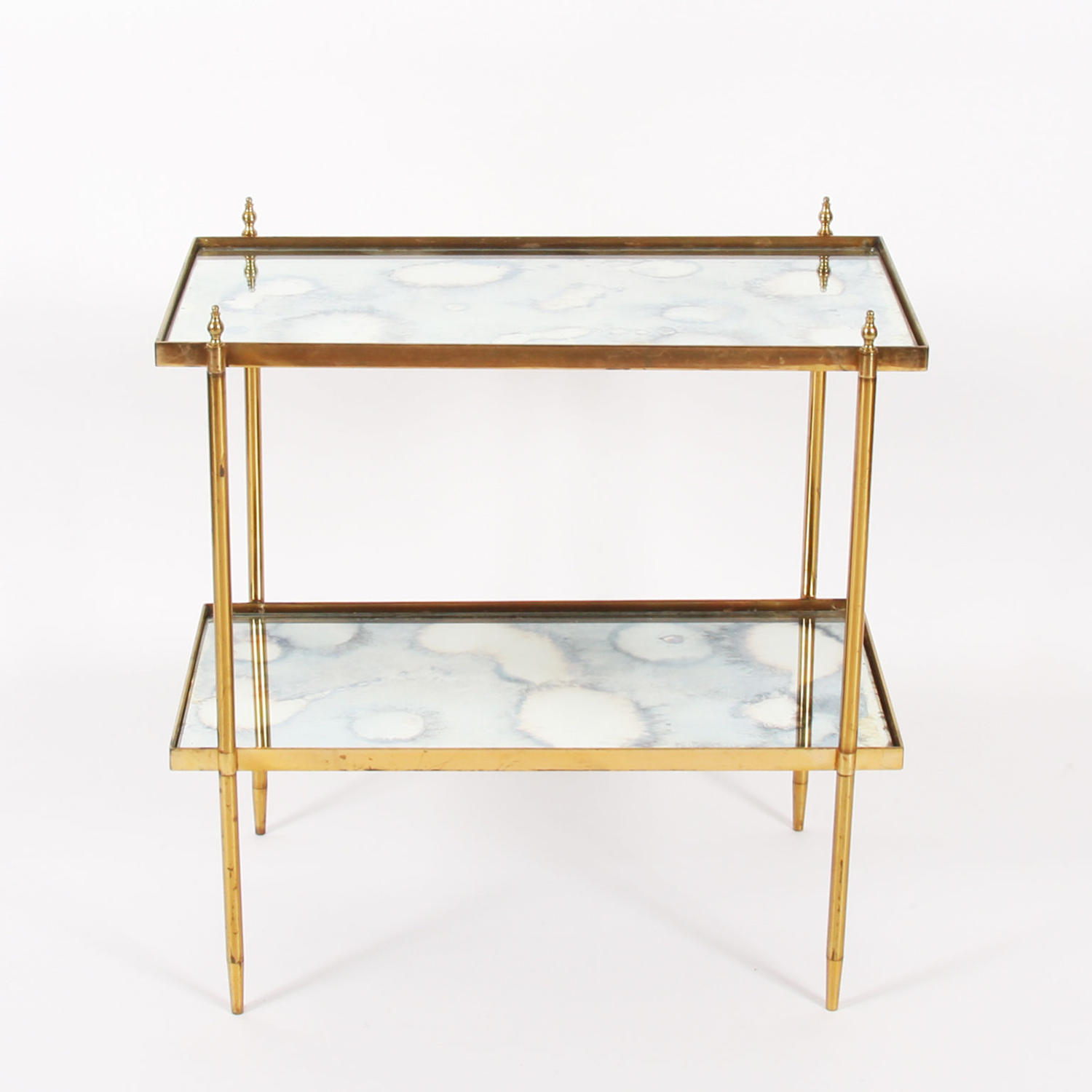 Brass Side Table with Antiqued Glass