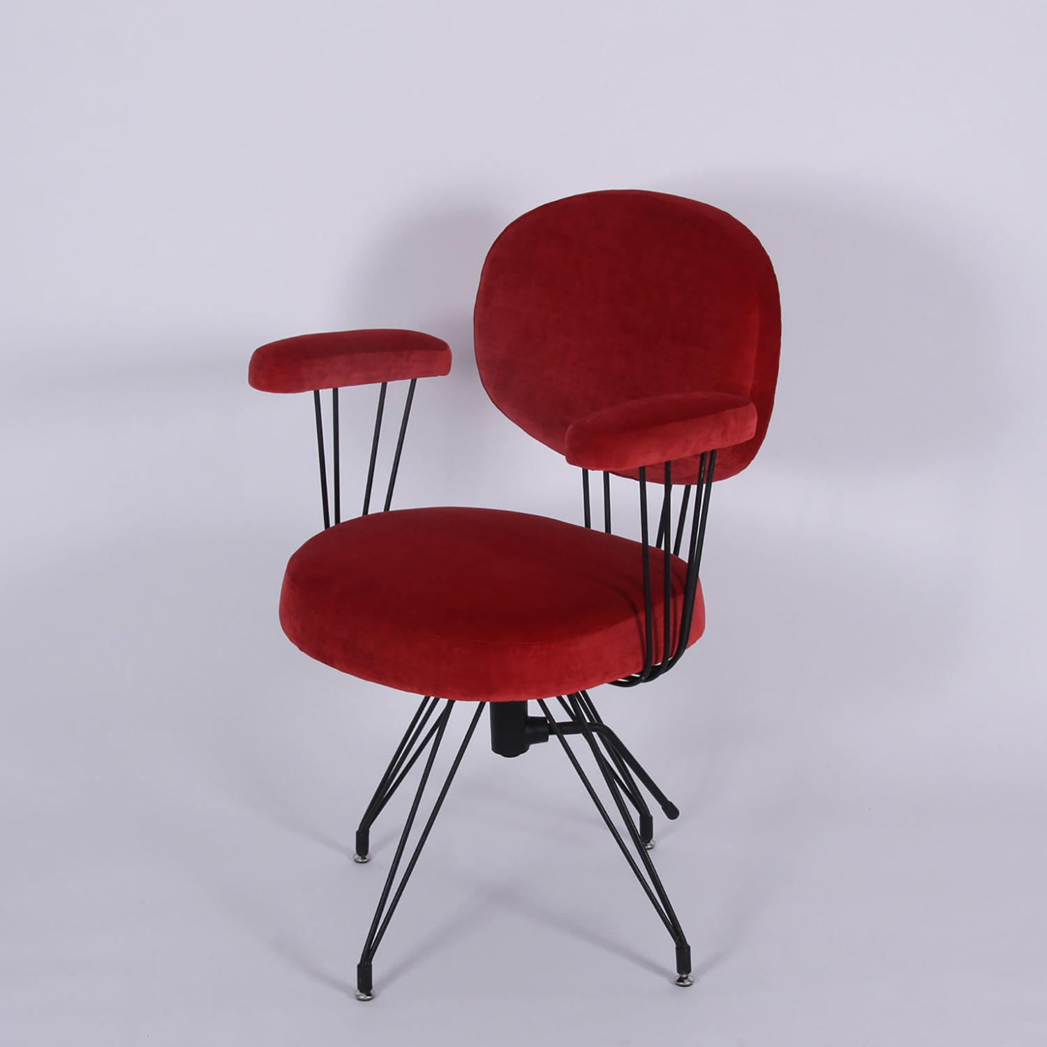 Red Velvet and Metal Frame Desk Chair