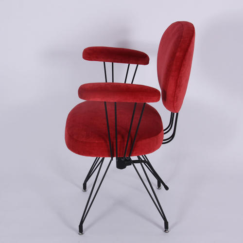 Stupendous Red Velvet And Metal Frame Desk Chair In Chairs Theyellowbook Wood Chair Design Ideas Theyellowbookinfo