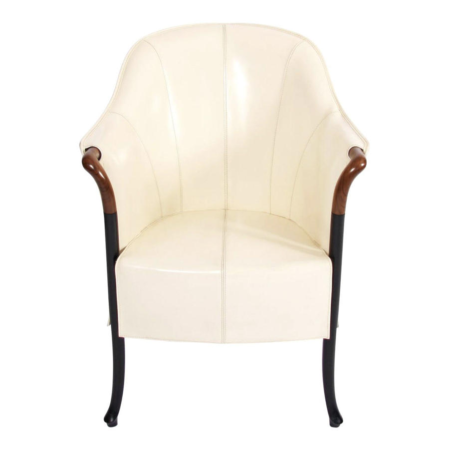 Single Giorgetti Cream Leather Armchair
