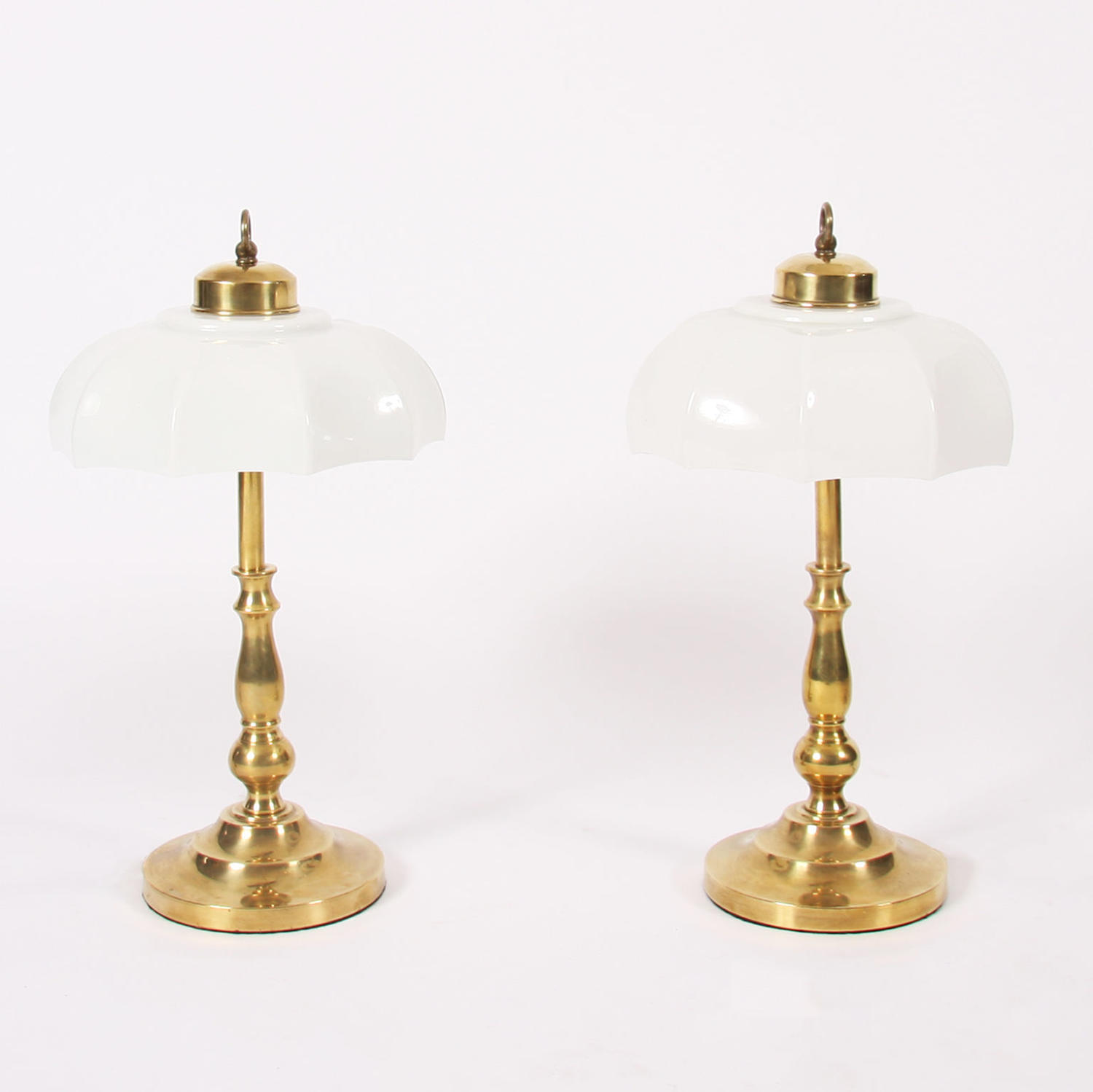 Pair of Brass Table Lamps with Opaline Shades